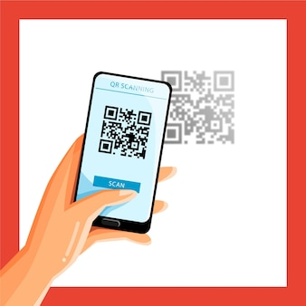 Smartphone scanning qr code concept