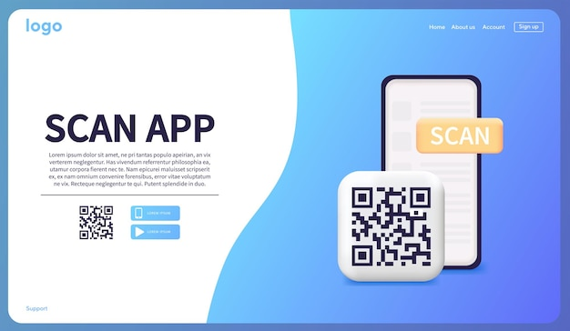 Smartphone scanning qr code download page of the mobile app web banner concept web design web