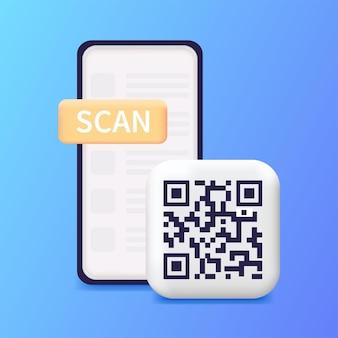 Smartphone scanning qr code download page of the mobile app web banner concept web design web Premium Vector