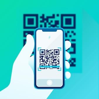 Smartphone scanning qr code illustration