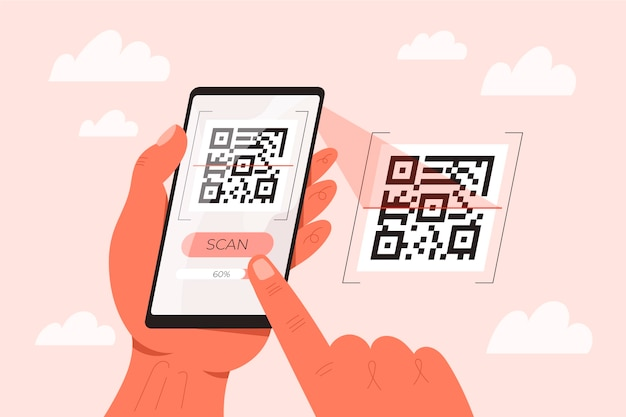 Smartphone scanning qr code illustration