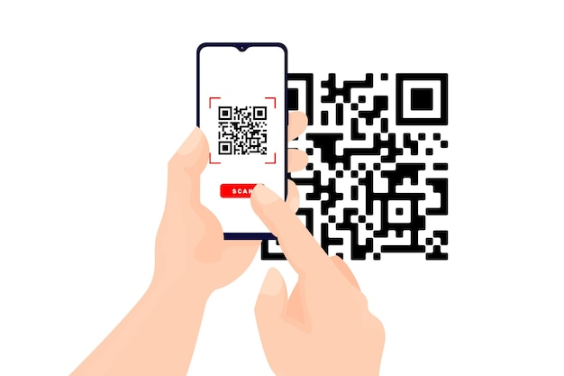 Smartphone scanning qr code theme