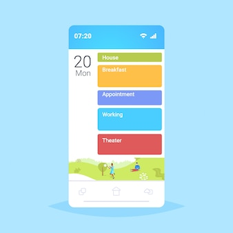 Smartphone screen online mobile app with different workday actions plans about house breakfast appointment working and theater schedule concept
