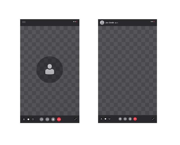 通話インターフェース付きのスマートフォン画面。画面要素のアイコンとボタン、ビデオ通話電話アプリ。