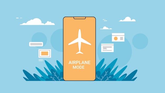 飛行機の安全コンセプトのフライトモードルールが表示されたスマートフォン画面の安全な旅行のためのデバイス上のオンラインモバイルアプリケーション