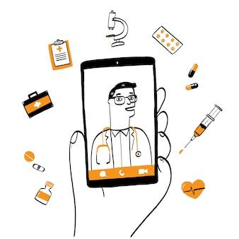 메신저 채팅 및 온라인 상담에 남성 치료사와 스마트 폰 화면.