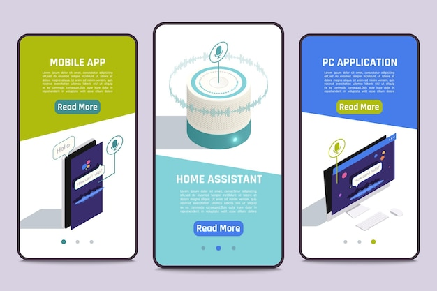 Smartphone screens banners with smart home voice assistant. 3 isometric illustrations