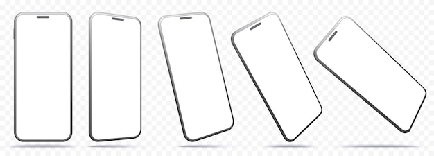 Smartphone screens isolated on transparent background