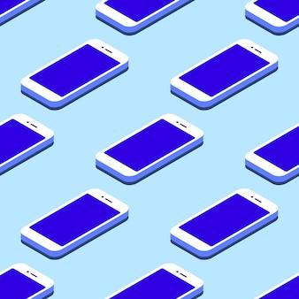 スマートフォンのシームレスなフラットアイソメトリックパターン。