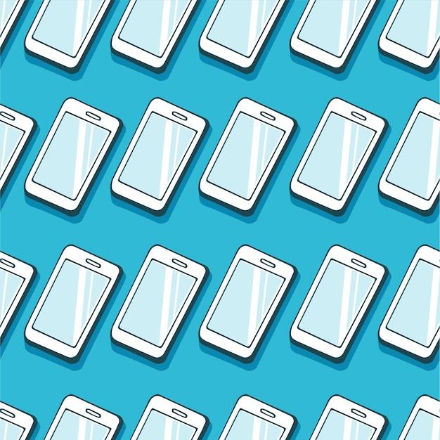 青い背景に分離されたスマートフォンのシームレスなパターン。