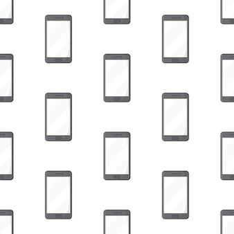 白い背景の上のスマートフォンのシームレスなパターン。携帯電話のテーマのベクトル図
