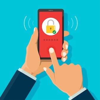 Smartphone security login with fingerprint scan and touching on screen.