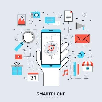 Концепция услуг смартфона в стиле