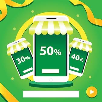 녹색 캐노피와 녹색 금색 배경 일러스트가 있는 스마트폰 가게