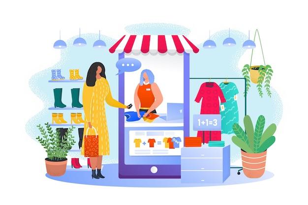 Магазин смартфонов, женщина в интернет-магазине, векторная иллюстрация, персонаж молодой девушки покупает одежду в интернет-технологиях, работник продает футболку клиенту.