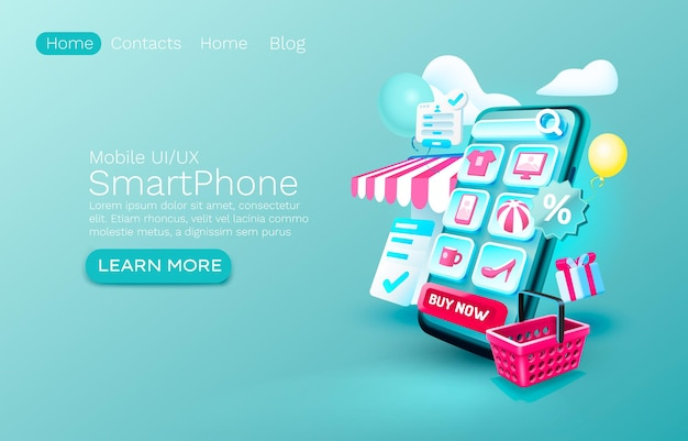 Smartphone shopping app banner concept place for text buy online application shop authorization mobi...