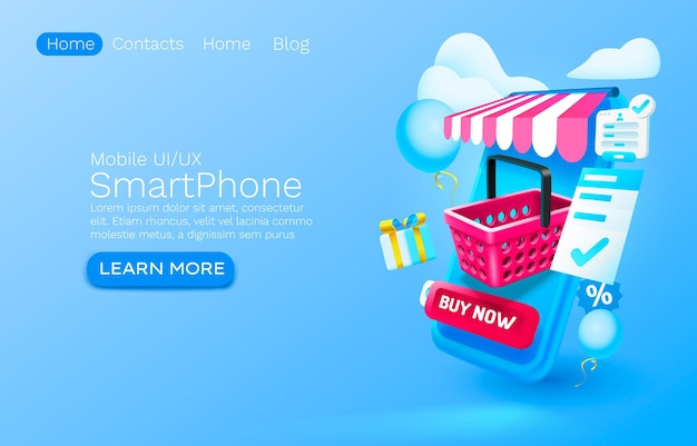 Smartphone shopping app banner concept place for text buy online application shop authorization mobile service vector