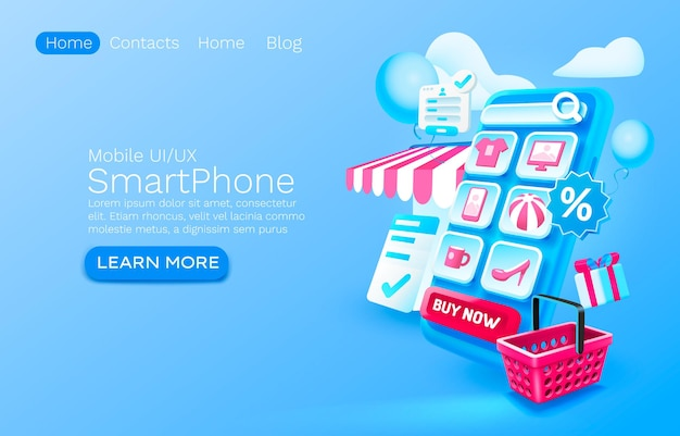 Smartphone shopping app concept place for text buy online application shop authorization mobile  landing page