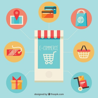 Smartphone and shopping symbols with flat design