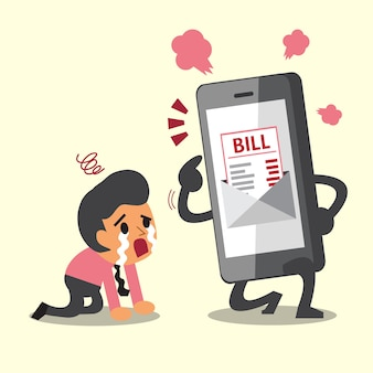 Smartphone show electronic bill payment to businessman