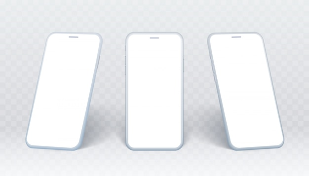 Smartphone side view set. white mobile phone collection in different angles. isolated device on transparent background with empty screen for showing ui design or website.