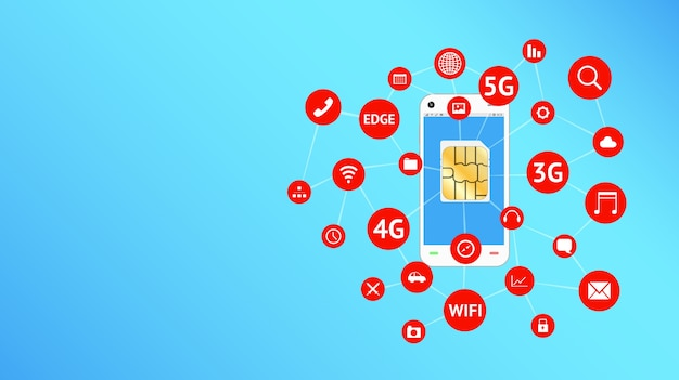 Smartphone and sim card with apps icon floating