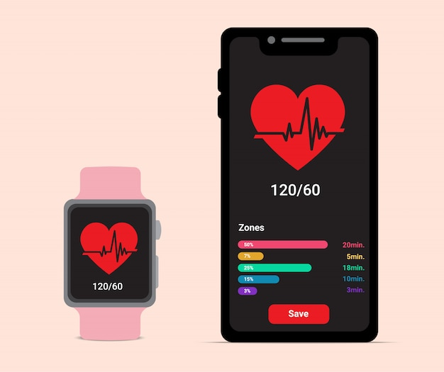 Smartphone and smartwatch with heart beat rate for health care or fitness application icon. flat style on pastel colour background illustration. technology and sport ware concept design.