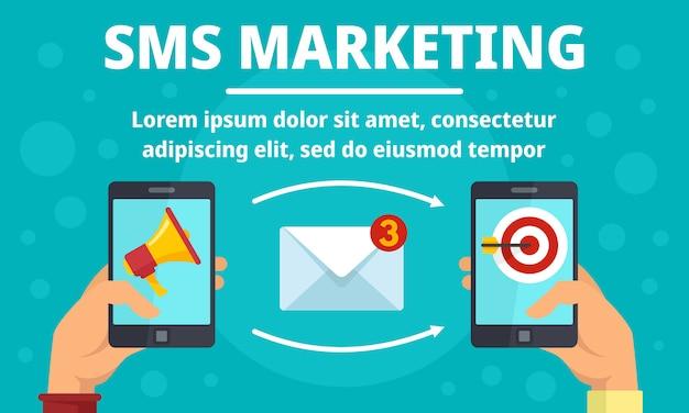 Smartphone sms marketing concept banner