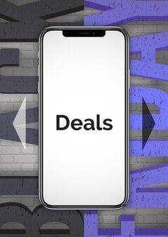 スマートフォンスペシャルは、リアルなバナーテンプレートを提供します。空の画面3dの携帯電話。ブラックフライデーバーゲン。携帯機器の広告ポスターレイアウトの割引