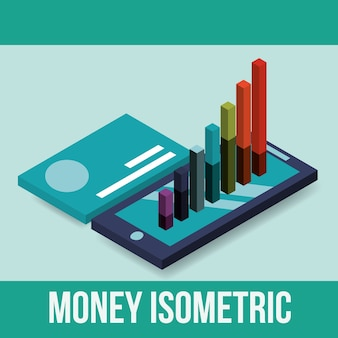 Smartphone and statistics graph credit card money isometric