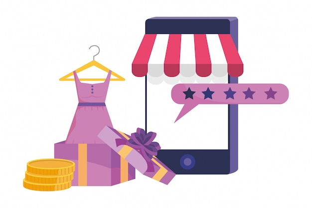 Smartphone and store icon illustration