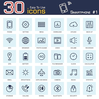 Smartphone system icon set