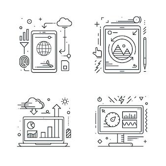 Смартфон планшетный ноутбук и значок на рабочем столе. Premium векторы