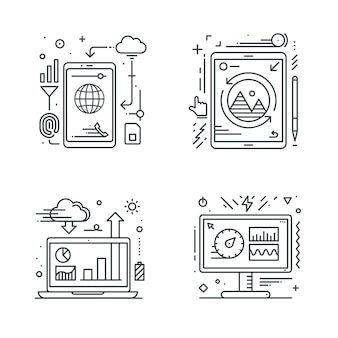 Smartphone tablet laptop and desktop icon.