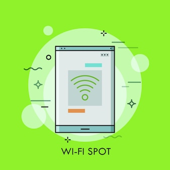 Smartphone or tablet pc screen with wifi symbol on it concept of free wireless internet connection spot