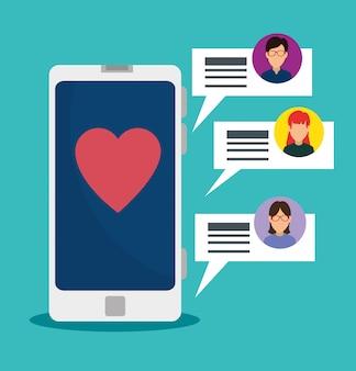 스마트 폰 기술 및 소셜 채팅 거품