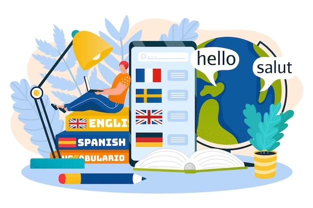 オンラインで言語を勉強するためのスマートフォン技術、ベクトルイラスト。フラットマンのキャラクターは、本、外国のコミュニケーションのためのインターネット教育に座っています。男性はノートパソコンで知識を学びます。