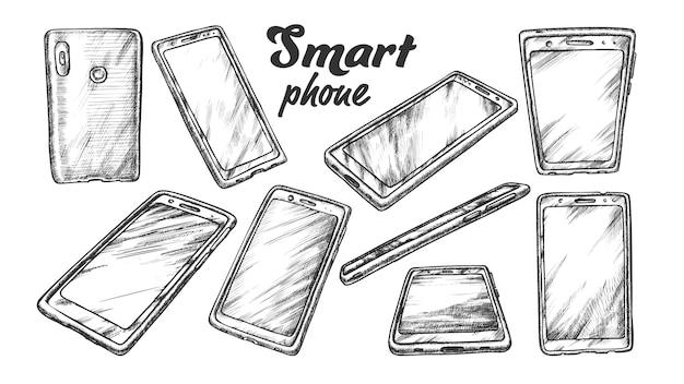 Smartphone technology gadget set vintage