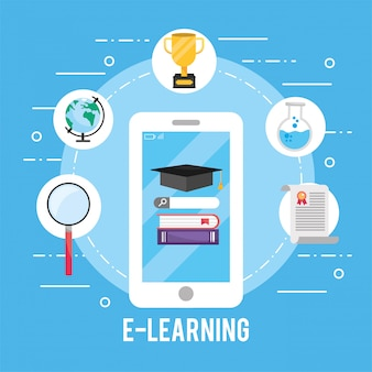 Smartphone technology with education books and certificate