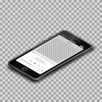 Smartphone template app design, transparent background