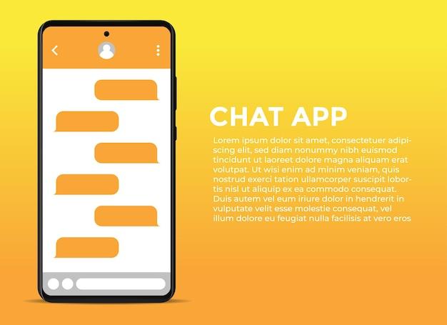 채팅 애플리케이션 디스플레이가있는 스마트 폰 템플릿