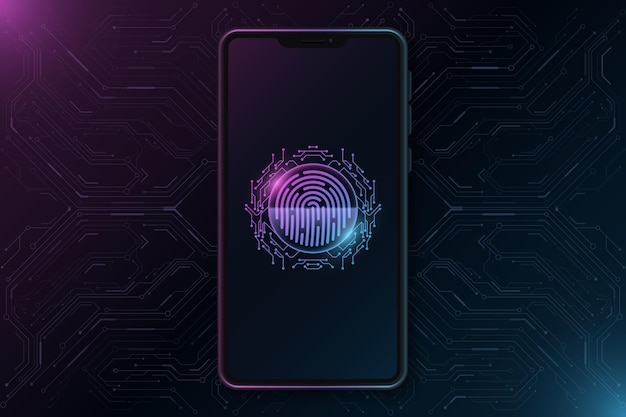 Smartphone template with futuristic fingerprint on touch screen