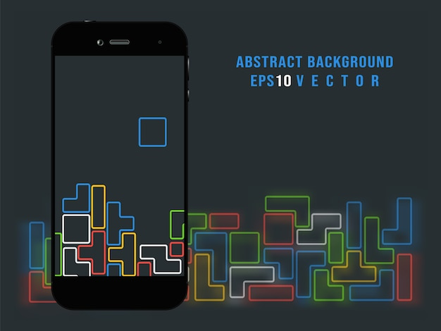 Smartphone on tetris video game background