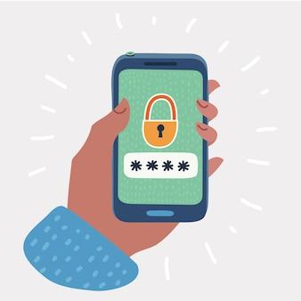 Смартфон разблокирован кнопка уведомления и поле пароля. рука, держащая мобильный телефон. концепция безопасности смартфона, персональный доступ, авторизация пользователей, защита. векторные иллюстрации шаржа +