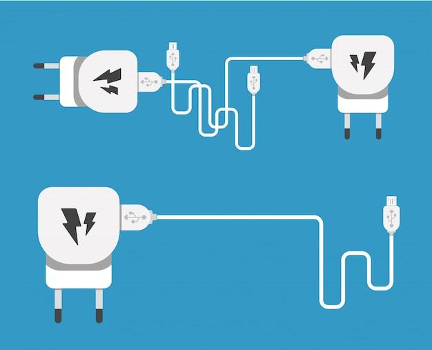 Usbマイクロケーブル付きのスマートフォンusb充電アダプター(pcおよびモバイルデバイス用のソケットとコネクタ)