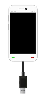 Smartphone in a usb connection mode with usb cable