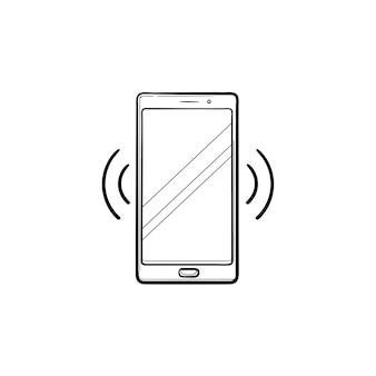 Смартфон вибрирующий рисованной наброски каракули значок. технология мобильного телефона, входящий звонок и концепция звонка. векторная иллюстрация эскиз для печати, интернета, мобильных устройств и инфографики на белом фоне.