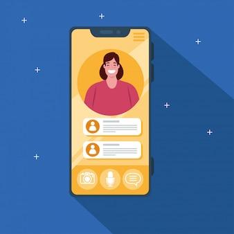 若い女性が、ソーシャルメディアの概念と画面上のスマートフォンビデオ通話
