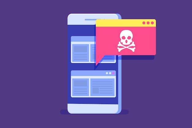 Уведомление или предупреждение о вредоносном по для смартфона