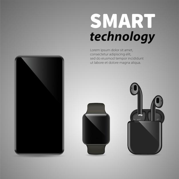 スマートフォン、ワイヤレスヘッドフォン、灰色の背景にスマートな時計。現代のスマート技術と通信。 Premiumベクター